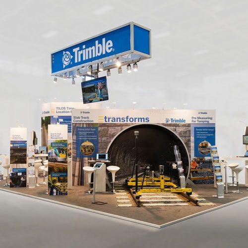 expokom GmbH | Messestand Gesamtansicht Trimble